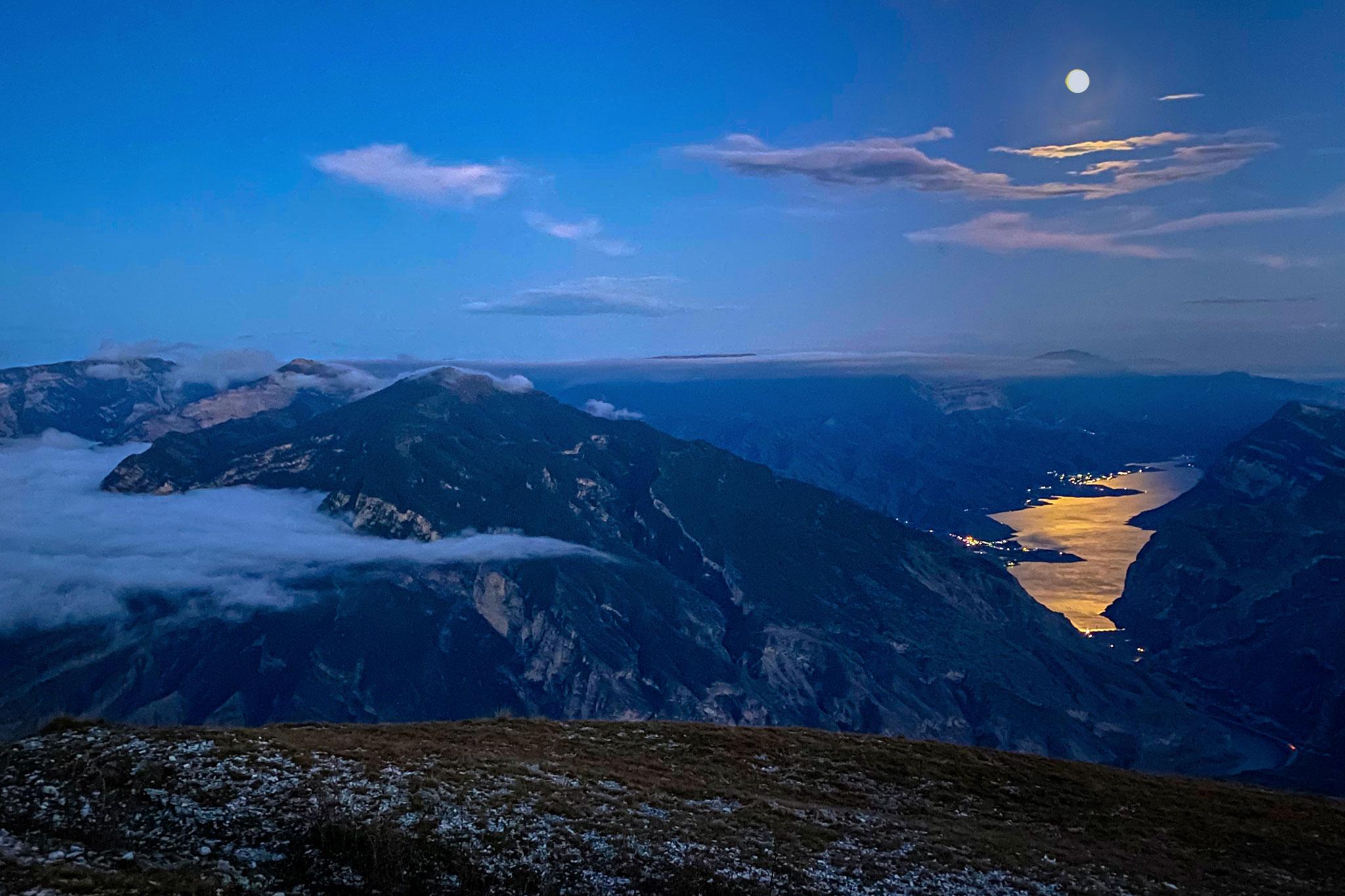 Campfires under a full moon